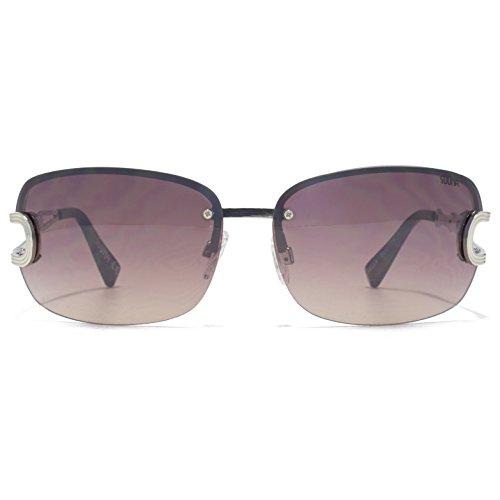 SUUNA Bella Semi grandes lunettes de soleil sans monture en argent brillant SUU114 Grey Pink Gradient