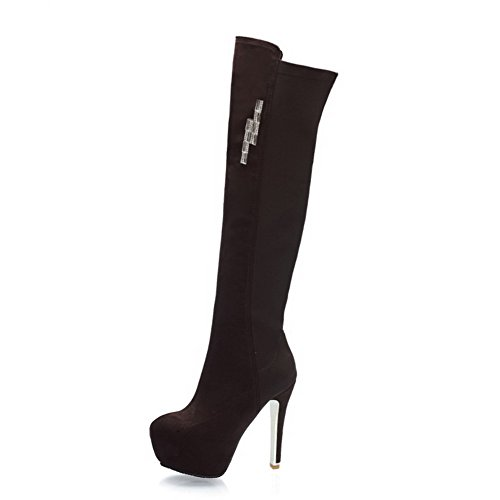 VogueZone009 Damen Rein Hoher Absatz Rund Zehe Blend-Materialien Reißverschluss Stiefel, Blau, 43
