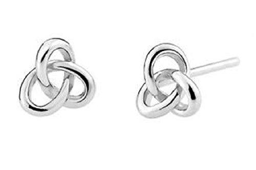 Celtic Silver Stud (Sterling Silver Triangle Celtic Knot Post Stud Earrings 0.6cm Women Men)