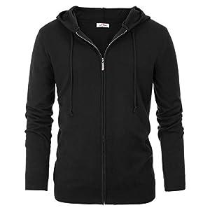 PAUL JONES Mens Hooded Cardigan Sweater Full Zip Sweatshirt
