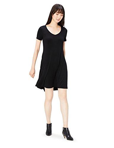 Daily Ritual Women's Jersey Short-Sleeve V-Neck Dress, Black, Medium