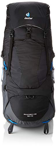 Deuter Aircontact Lite 65+10 Backpacking Pack, Black/Graphite (Mens Deuter Backpack)
