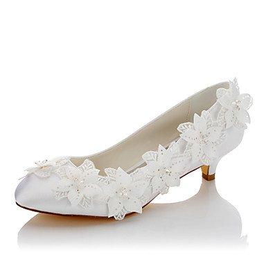 UK6 Shoes Wedding Dress 3 White Fall EU39 Heel 1In Wedding Applique CN39 US8 Satin 1 Low Comfort Women'S 4In Comfort Evening amp;Amp; Spring Party wpdAqBw5