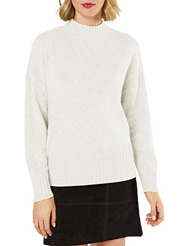 Women's Mock Neck Ribbed Trim Drop Shoulder Knit Basic Cozy Sweater(Pure White, S) ()