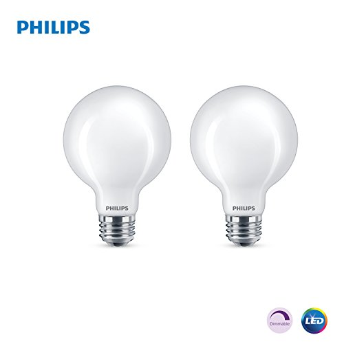 Philips LED Dimmable G25 Light Bulb, 500-Lumen, 2700-Kelvin, 6.5-Watt (60-Watt Equivalent), E26 Base, Frosted, Soft White, 2-Pack
