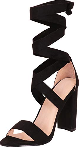 (Cambridge Select Women's Open Toe Crisscross Strappy Ankle Wrap Tie Chunky Block Heel Sandal,9 B(M) US,Black IMSU)
