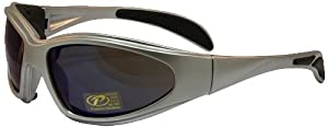 Pacific Coast Chopper Padded Riding Sunglasses (Silver Frame/Blue Mirror Lens)