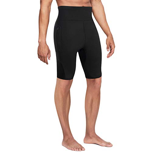 Wonderience Men Neoprene Slimming Shorts for Weight Loss Hot Thermo Sauna Sweat Pants Fitness Workout Body Shaper (Black, Large)