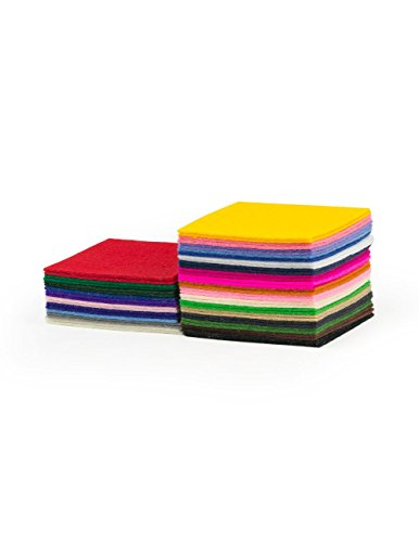 "1.2mm Wool Craft Felt Sample Bag: 52 pieces of 2 3/4"" squares"