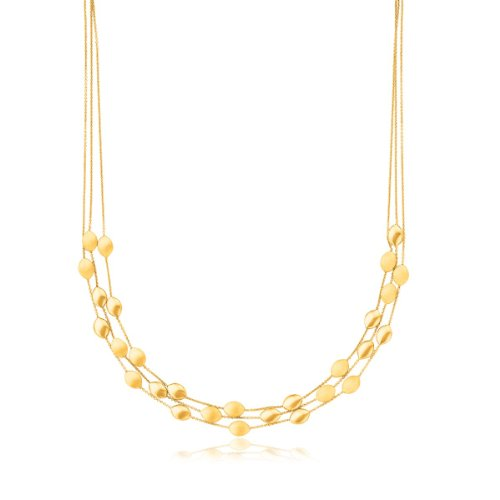 14K Yellow Gold Triple Strand Pebble Necklace 14k Yellow Gold Pebble