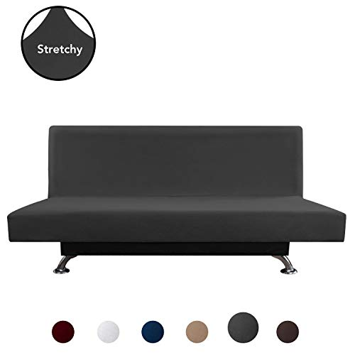 PureFit Super Stretch Armless Chair Sofa Slipcover - Spandex Anti-Slip Soft Couch Sofa Cover, Washable Furniture Protector with Elastic Bottom for Kids, Pets (Futon, Dark Gray) (Chairs Slipcovers Armless)