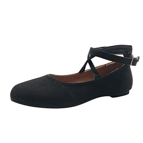 - Women's Ballet Flat Sandals with Ankle Strap,Retro Pointed Toe Beach Shoes,Summer Slip-On Casual Boat Shoes Dress Sandals (Black, US:7)