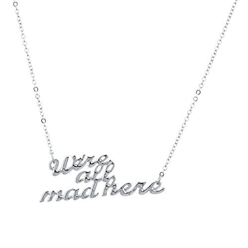 Lux Accessories Silver Tone We're All Mad Here Verbiage Name Plate Necklace (Christmas Verbiage)