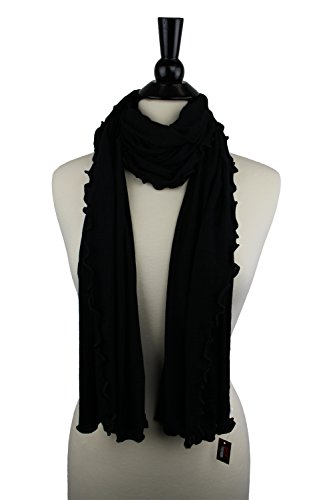 Womens Black Colored Scarf Jersey Knit Scarf Long Scarf Super Soft Scarf Ruffle Scarf Thin Scarf