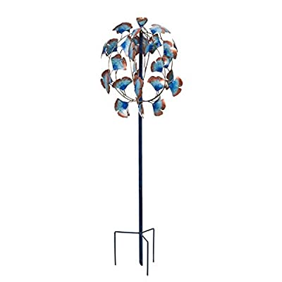 Evergreen Garden Patina Gingko Leaves 50 inch Metal Kinetic Wind Spinner : Garden & Outdoor