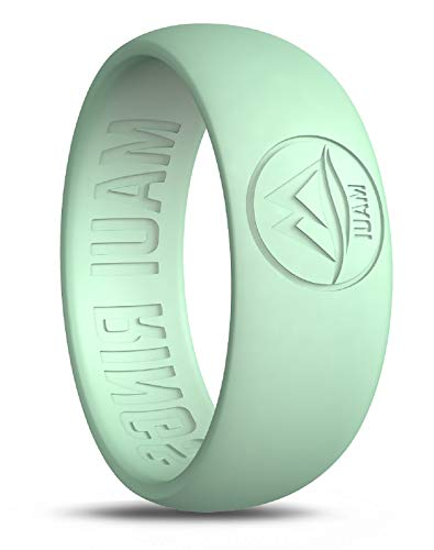 MAUI RINGS Silicone Wedding Ring Engagement Rings for Men Wedding Band Mens Ring Rubber Bands Rubber Ring Mens Rings Silicone Ring Surf Fitness Exercise (GLOW-in-the-DARK, 11) ()