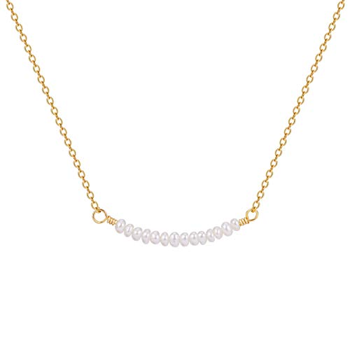 Dainty Cultured Freshwater Pearl Bar Choker Necklace 18K Gold Plated Chain Cute Bead Handmade Jewelry for Women Girlfriend ()