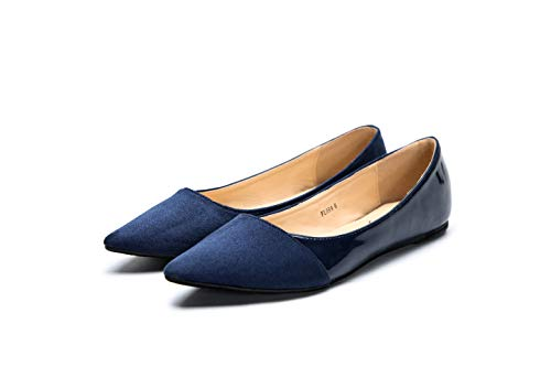Mila Lady Flora Stylish Patent Leather Pointed Toe Comfort Slip On Ballet Dressy Flats Shoes for Women,Navy 10