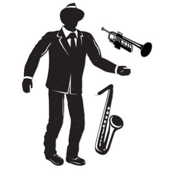 Jointed Jazz Musician (sax & trumpet cutouts included) Party Accessory  (1 count) -