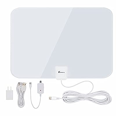 TV Antenna, Vansky Indoor Amplified HDTV Antenna 50 Mile Range with Detachable Amplifier Signal Booster, USB PowerSupply and 16ft High Performance Coax Cable - Upgraded Version Better Reception from Vansky