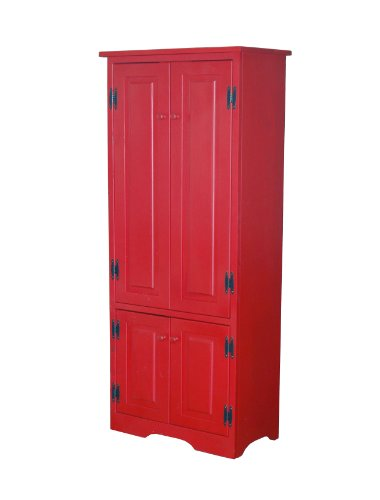 Target Marketing Systems Tall Storage Cabinet with 2 Adjustable Top Shelves and 1 Bottom Shelf, Red Kitchen Storage Pantry Cabinet