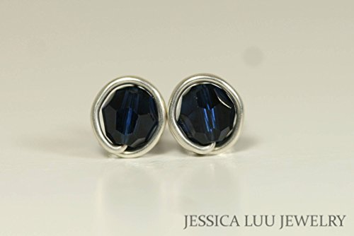 (Sterling Silver Navy Blue Stud Earrings Dark Indigo Swarovski Crystal Earrings Wire Wrapped Sterling Silver or Gold Filled)
