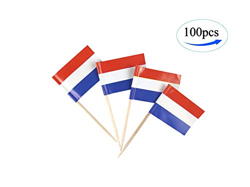 JBCD Netherlands Flag Dutch Flags,100 Pcs Cupcake Toppers Flag, Country Toothpick Flag,Small Mini Stick Flags Picks Party Decorations Celebration Cocktail Food Bar Cake ()