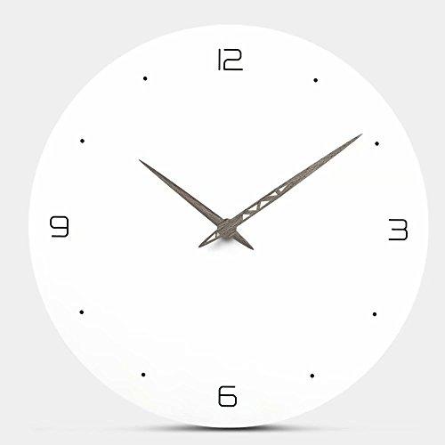 FlorLife Giant Decorative Wall Clock Silent & Non-Ticking Quartz Clock, Modern European Design White Round Moistureproof MDF Wooden Whisper Technology Clock by FlorLife