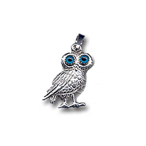 Platinum Plated Sterling Silver Greek Pendant - Standing Owl (19mm), Made In -