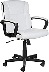 Terrific Amazonbasics Classic Leather Padded Mid Back Office Computer Desk Chair With Armrest White Bifma Certified Creativecarmelina Interior Chair Design Creativecarmelinacom
