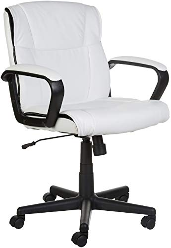 AmazonBasics Classic Leather-Padded Mid-Back Office Computer Desk Chair with Armrest - White (Chairs Small Corner)