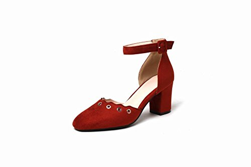 MissSaSa Damen Ankle-Strap Blockabsatz vierkant Spitze Pumps Rot(Ziegelrot)