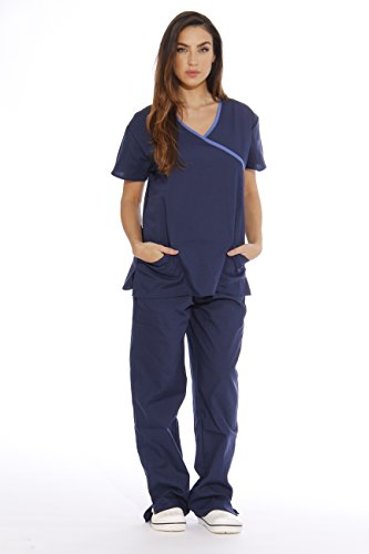 Nursing Uniform (11143W Just Love Women's Scrub Sets / Medical Scrubs / Nursing Scrubs - S, Navy with Malibu Blue)
