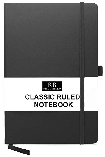 RICCO BELLO A5 Classic College Ruled Banded Notebook, Pen Loop, 192 pages, 5.7 x 8.4 in. (Black)]()