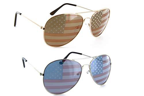 Men Women Aviator Sunglasses Patriotic Shades American Flag (GOLD/SILVER, USA ()