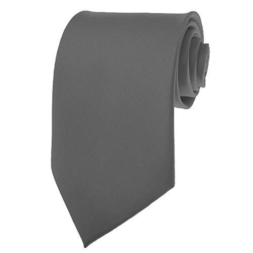- Charcoal Necktie SOLID Mens Neck Tie Satin