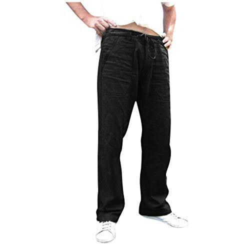 Mens Summer Linen Long Drawstring Pants Loose Fit Drawstring Elastic Waist Lightweight Breathable Beach Pants Black