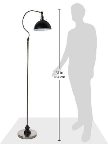 Antique Silver Base Black Shade SH lighting 812045023803 H 63 31180F-SN Academy Task Floor Lamp