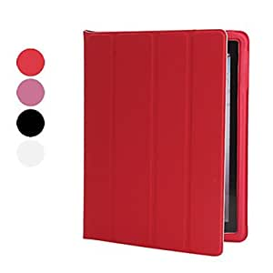 Bkjhkjy Protective Four-fold Sleep/Wake Up Case & Stand for iPad 2/3/4 (Assorted Colors) , Red