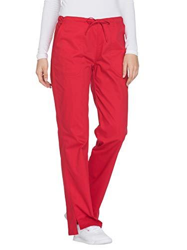 (Cherokee Workwear Core Stretch WW130 Mid Rise Drawstring Pant Red M Petite)