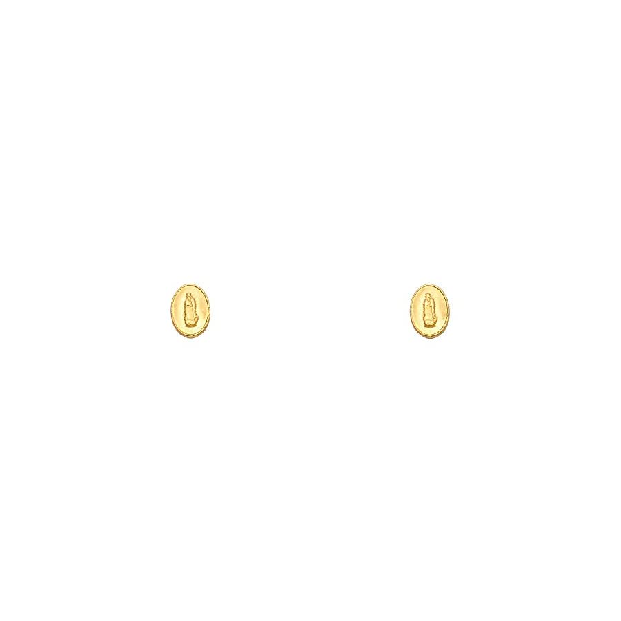 14k Yellow Gold Our Lady of Guadalupe Stud Earrings with Screw Back