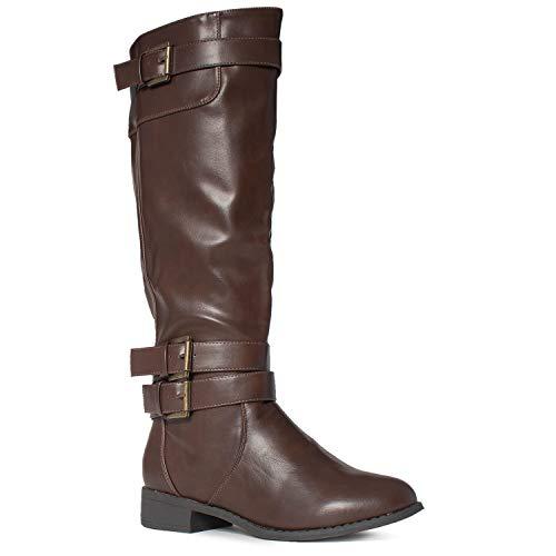 RF ROOM OF FASHION Medium Calf Buckle Knee High Riding Boots Hidden Pocket Brown (7)