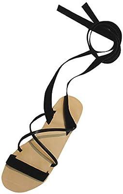 f12ad41f7923 Amazon.com  Women Lace Up Gladiator Sandals - Ladies Open Toe Strap Slip On  Flat Slide Sandal - Summer Elegant Daily Dress Wedding Shoes  Beauty