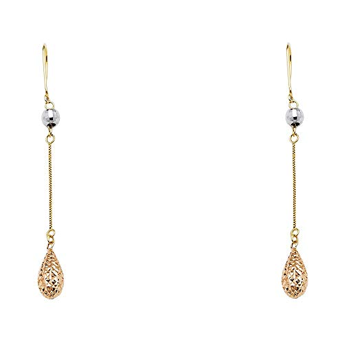 14k Yellow Gold White Gold Tear Drop Ball Hanging Earrings 8x60mm