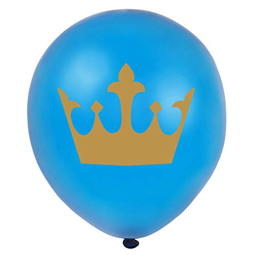 MAGJUCHE Royal Blue Little Prince Balloons, 16pcs Gold boy Crown Baby Shower or Birthday Party Decorations, Supplies]()