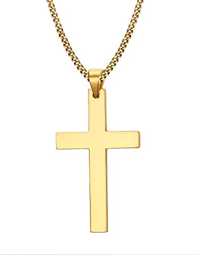 stainless steel simple plain polished cross pendant