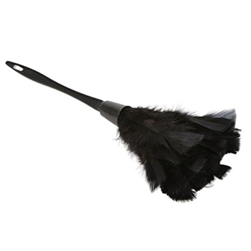 Duster Precision (SODIAL(R) 1pc Fashion Turkey Feather Duster with Black Plastic Handle Cleaning Tool(black)35cm)