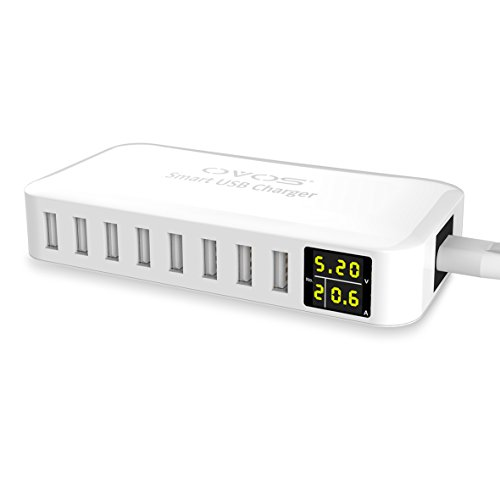 OVOS USB Wall Charger 40W/8A 8-Ports Multi Desktop USB Smart Charging Station Hub for Smartphones, Tablets, Power Banks and More (White)