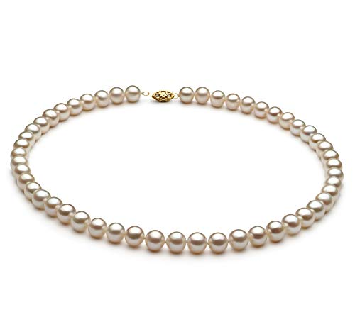 - White 6.5-7.5mm AA Quality Freshwater Alloy Cultured Pearl Necklace for Women-16 in Chocker Length
