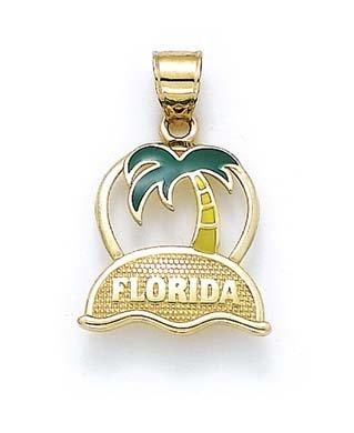 14k Yellow Gold Florida Palm Tree Pendant ()